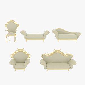 Victorian Sofa Set White 3D