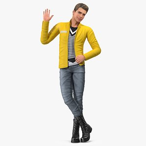 boy fashionable style rigged 3D model
