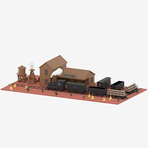 Old Wild West Trainand Staion 3D model