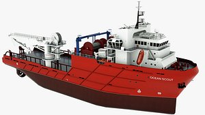 3D Offshore Support Vessel Ocean Scout model