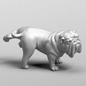dog bulldog english 3D