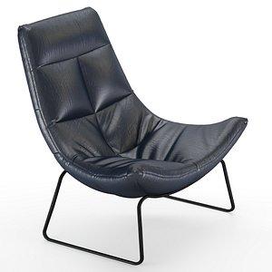 3D leren fauteuil hugo armchair