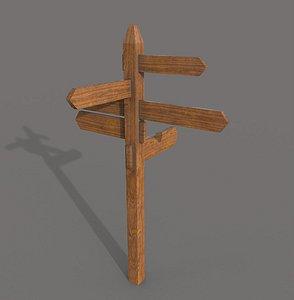 3D Wooden PBR Signpost model