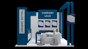 3D booth exhibition 3x3 model