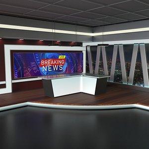 3D virtual set tv news model