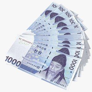 3D Fan of South Korean 1000 Won Banknotes model