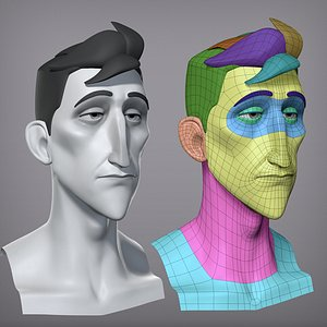 Cartoon male character Pierce base mesh 3D model