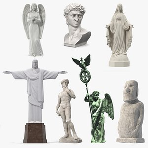3D model Stone Statues Collection 6