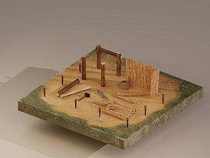 3D Building Foundation 2 model