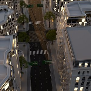 city intersection 3D model