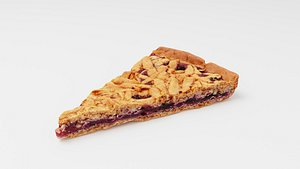 3D Pie or  tart with currant berries model