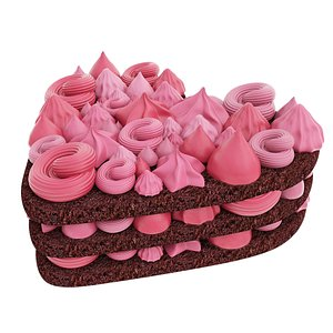 3D model cake pink cream