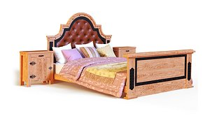 3D model Oakwood  double bed