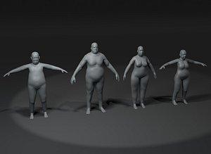 3D Fat Human Body Base Mesh Family Pack 20k Polygons