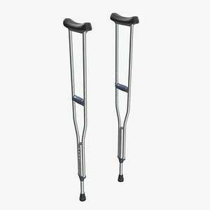 underarm lightweight crutches 3D
