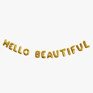 Foil Baloon Words Hello Beautiful Gold 3D