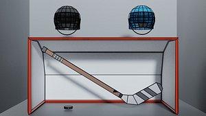 Lowpoly Icehockey Stick Helmet Goal Puk 3D model