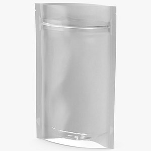 3D Zipper White Paper Bag with Transparent Front 50 g Open Mockup