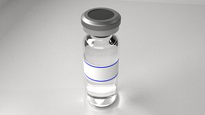 3D Vaccine Bottle with Label and Liquid