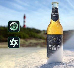 3D render beer bottle beach model