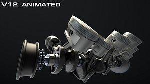 V12 Engine Working Animated 3D model