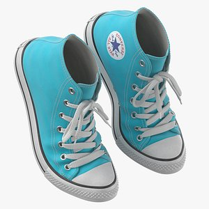3D model Basketball Leather Shoes Bent Light Blue