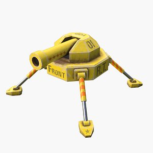 Turret Gun Turnable Rigged Yellow Low-Poly for Games model