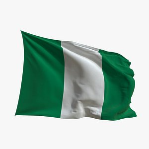 Realistic Animated Flag - Microtexture Rigged - Put your own texture - Def Nigeria 3D model