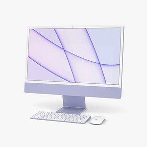 Apple iMac 24-inch 2021 Purple 3D model