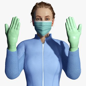 3D character medical worker uniform model