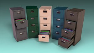 3D low-poly file cabinet