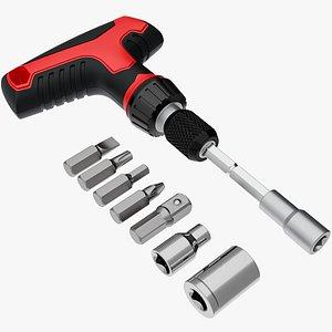 3D model t-handle ratchet wrench
