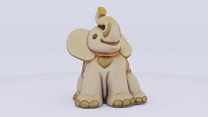 3D porcelain elephant statuette modeled model
