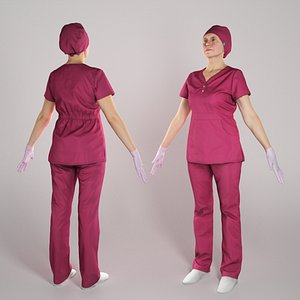 Nurse in red uniform ready for animation 282 model