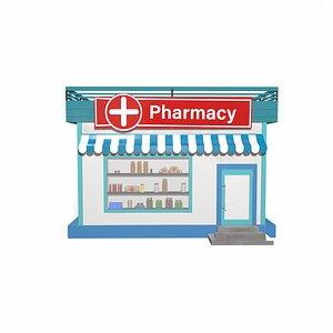 3D Pharmacy cartoon building model