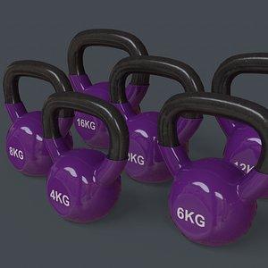PBR 4-16KG Kettlebell V1 - Purple 3D model