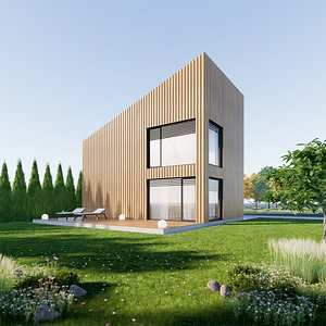 House 3 - Created with fully parametric Revit Families 3D model