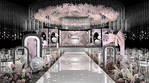Banquet hall reception room evening party hotel wedding scene banquet 3D model