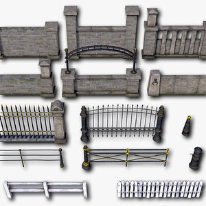 3D model Fences Pillars Hitching Posts Gates part 2 - 107 low-poly PBR objects