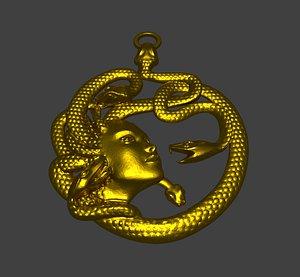 snake woman pendant 3D