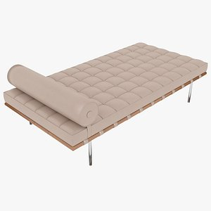 3D Knoll Beige Leather Barcelona Couch model