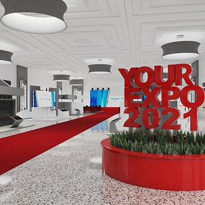 3D model Exhibition hall with stands