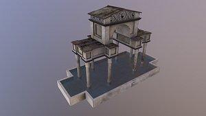 3D Low Poly Ornamental Pool model