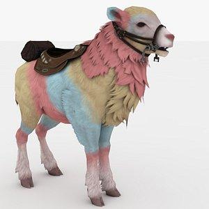 3D Rainbow Goat Rigged