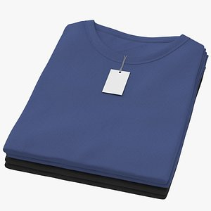 3D Female Crew Neck Folded Stacked With Tag Color Variations 10 model