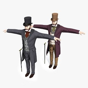 victorian gentleman static rigged 3D model