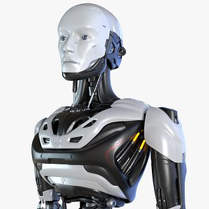 3D sci-fi male robot android