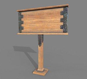 3D Wooden Billboard model