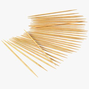 pile wooden toothpicks tooth 3D