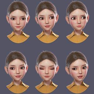 3D Cartoon Girl Rigged Animation